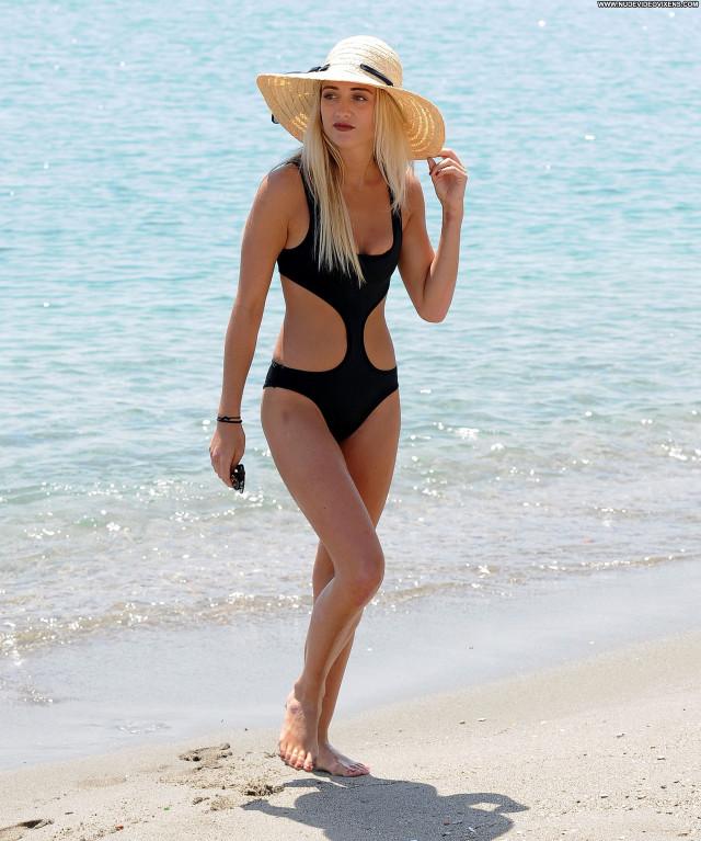 George Harrison No Source Black Swimsuit Posing Hot Beautiful Babe