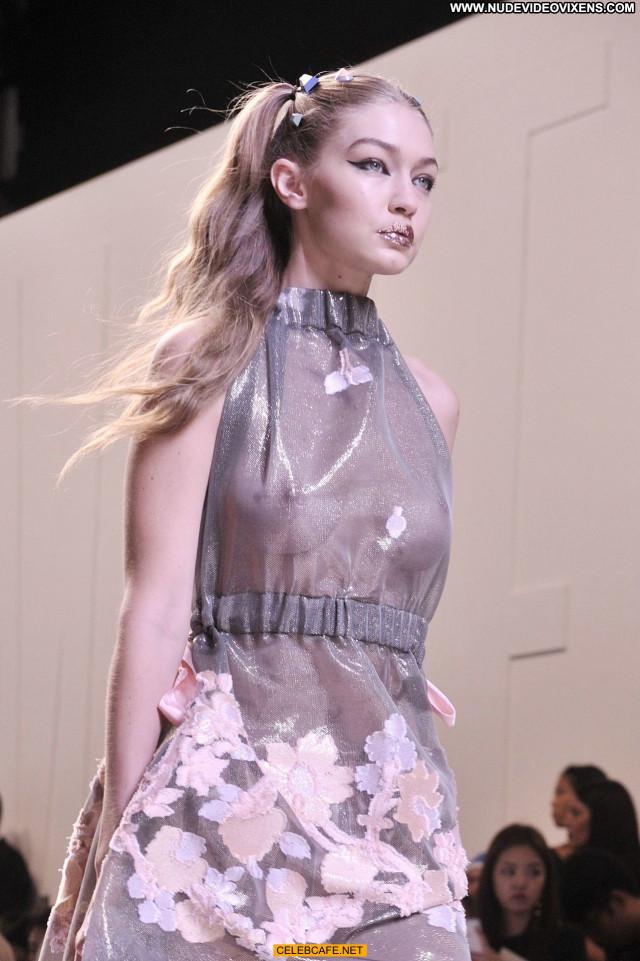 Gigi Hadid No Source See Through Celebrity Beautiful Posing Hot Babe