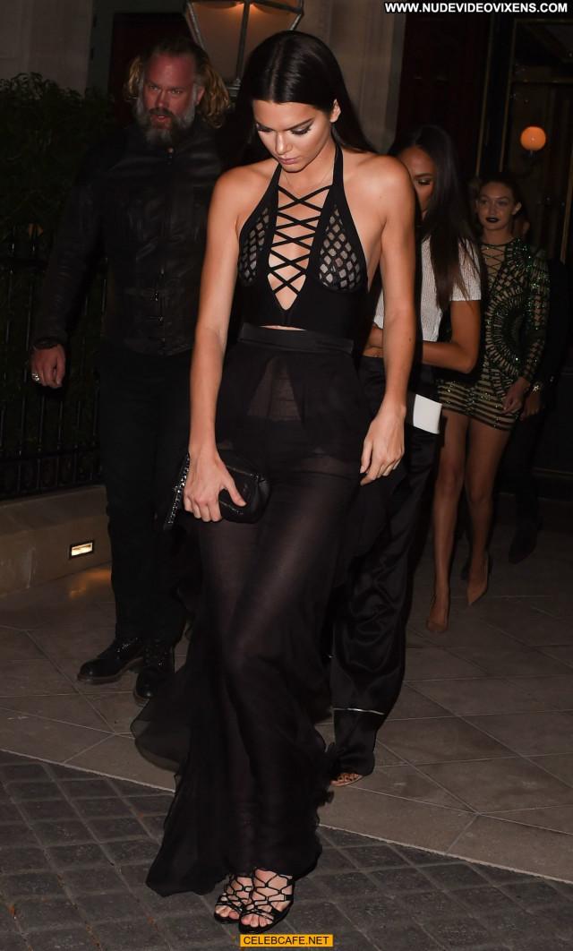 Kendall Jenner See Through Posing Hot Babe Celebrity Beautiful Paris