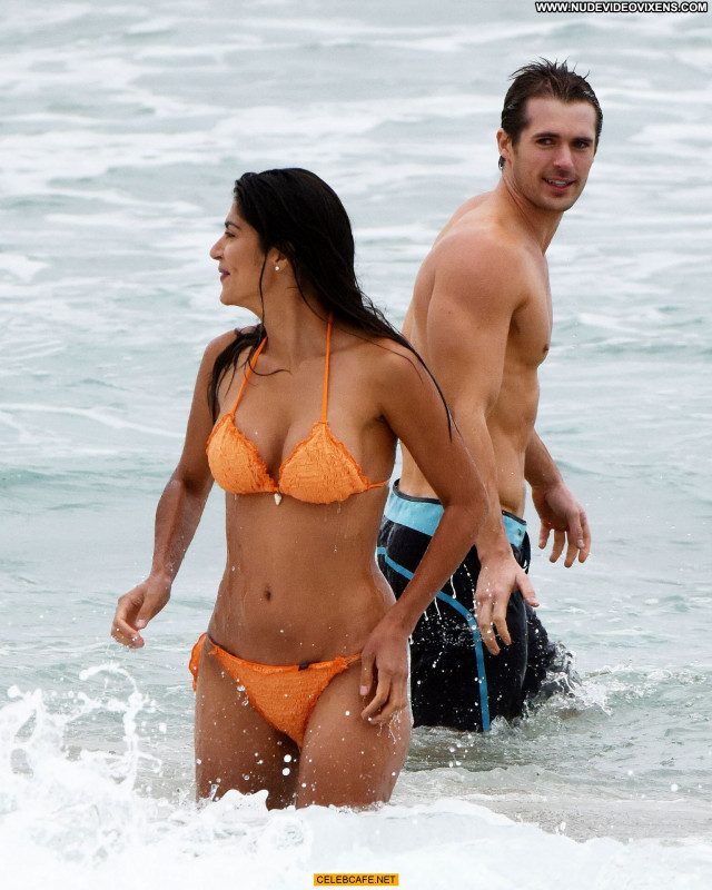 Pia Miller No Source  Posing Hot Beach Orange Sex Celebrity Bikini