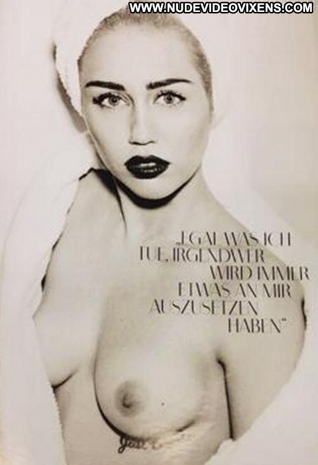 Miley Cyrus Vogue Germany Topless Breasts Smile Beautiful Braless Bra