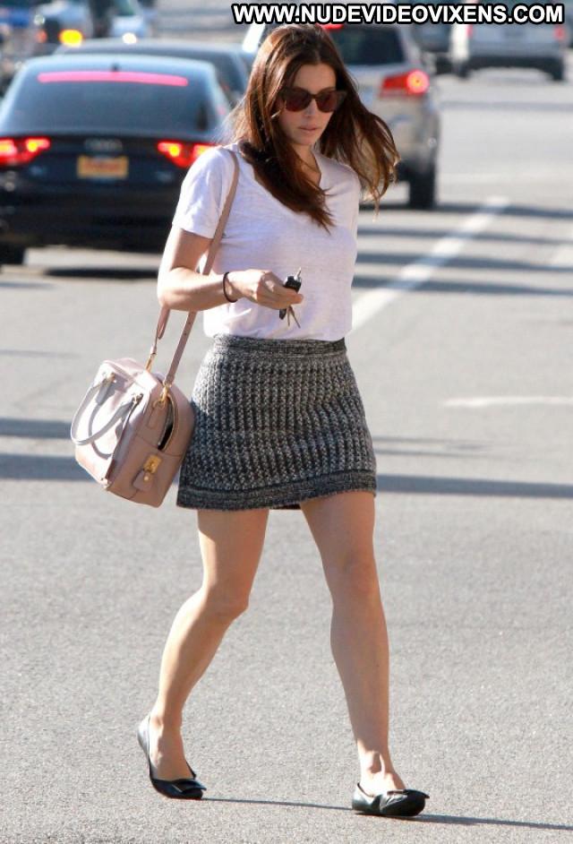 Jessica Biel Studio City Babe Posing Hot Skirt Beautiful Celebrity